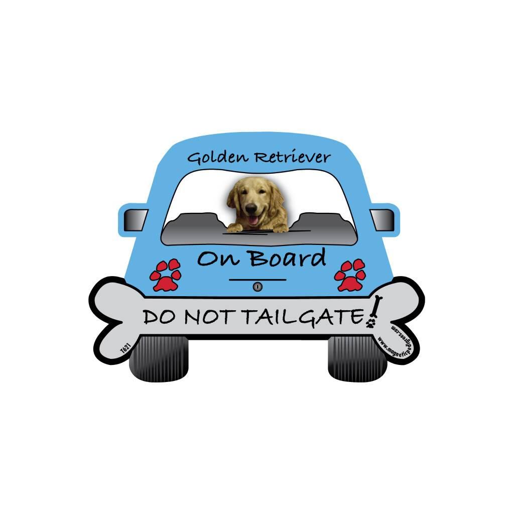 Golden Retriever On Board Car Magnet https://glammepet.com
