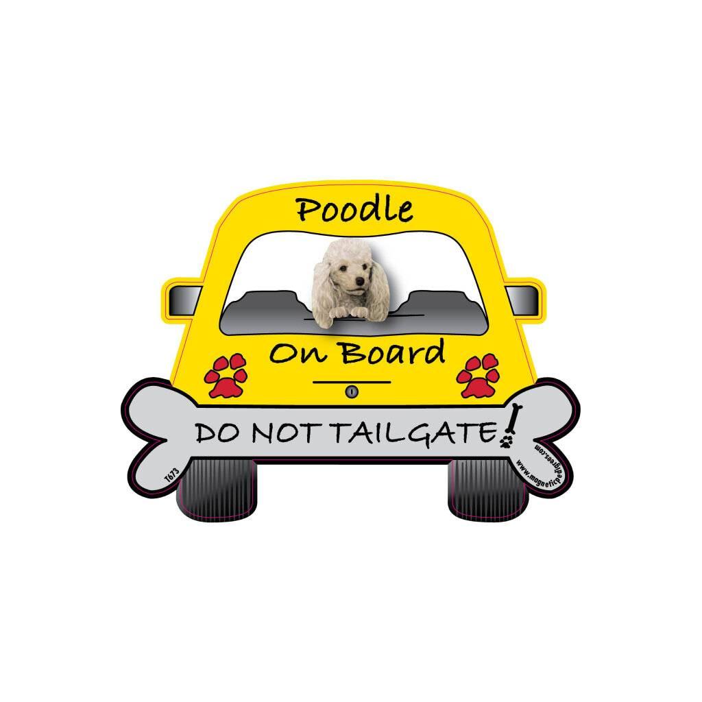 Poodle On Board Car Magnet https://glammepet.com