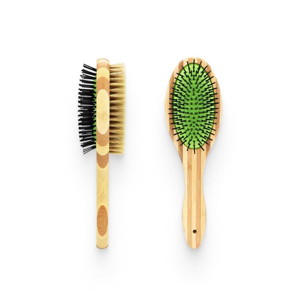 Dual Sided Bamboo Grooming Brush https://glammepet.com