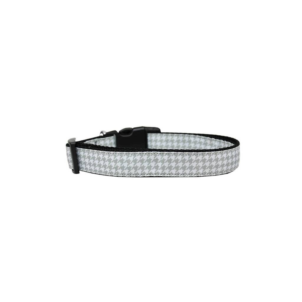 Grey Houndstooth Nylon Ribbon Collar https://glammepet.com
