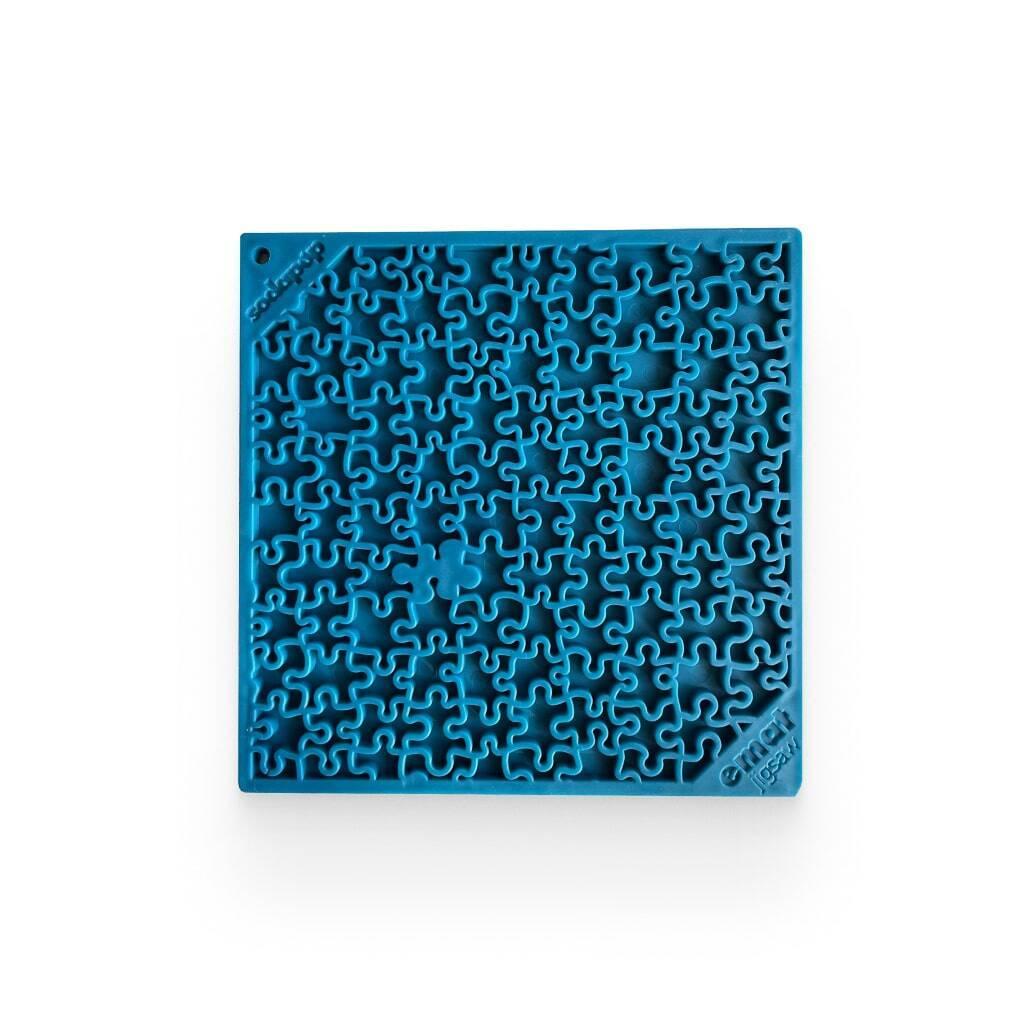 Jigsaw Design Emat Enrichment Licking Mat - Blue https://glammepet.com