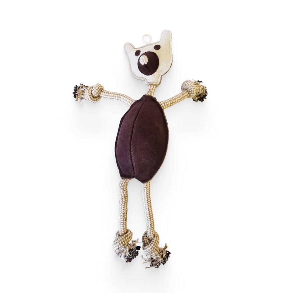 Jute and Leather Tug Bear Dog Toy https://glammepet.com