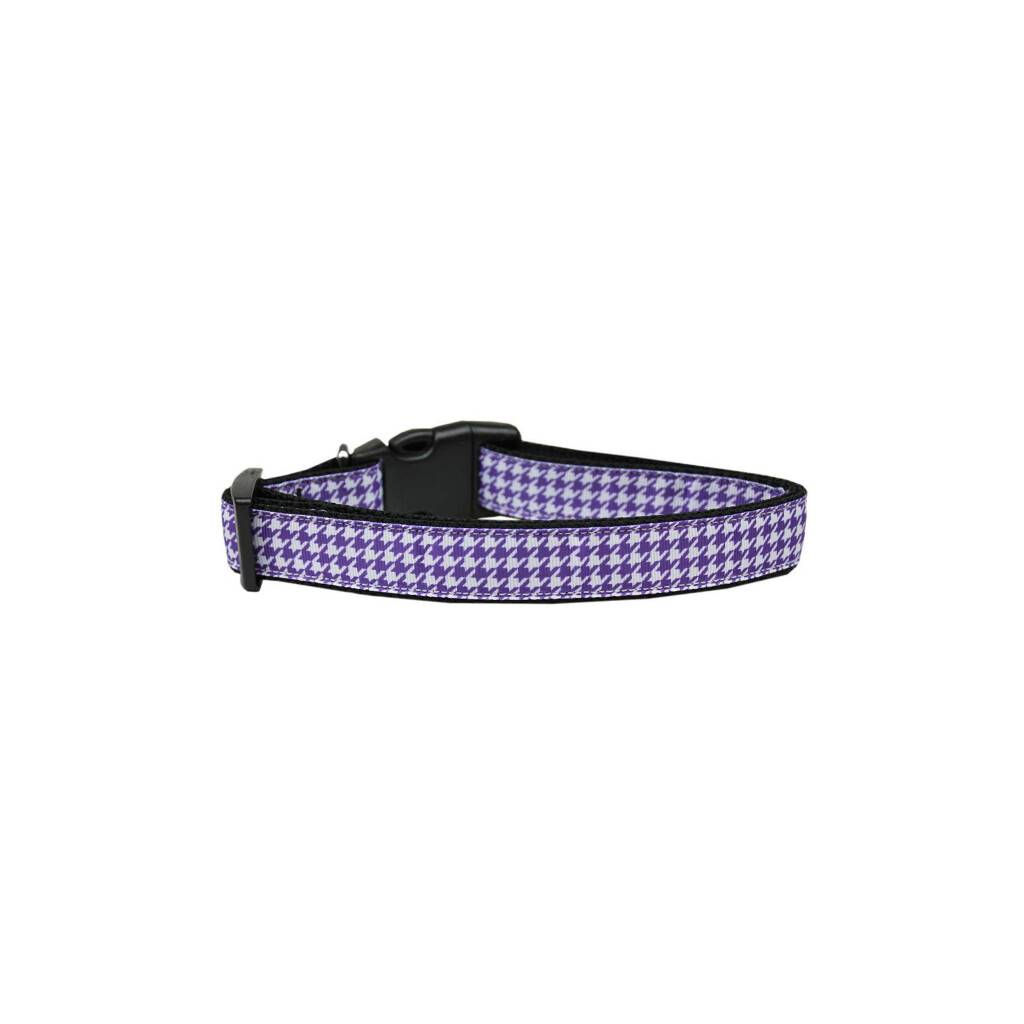 Purple Houndstooth Nylon Ribbon Collar https://glammepet.com