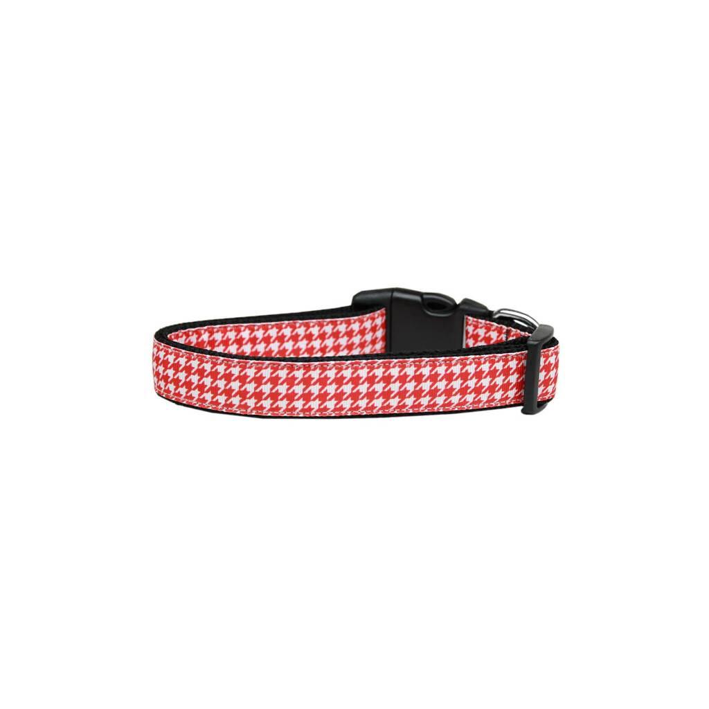 Red Houndstooth Nylon Ribbon Collar https://glammepet.com