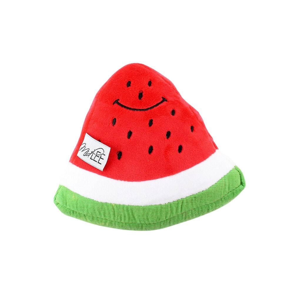 Smiley Watermelon Squeaker Plush Dog Toy https://glammepet.com