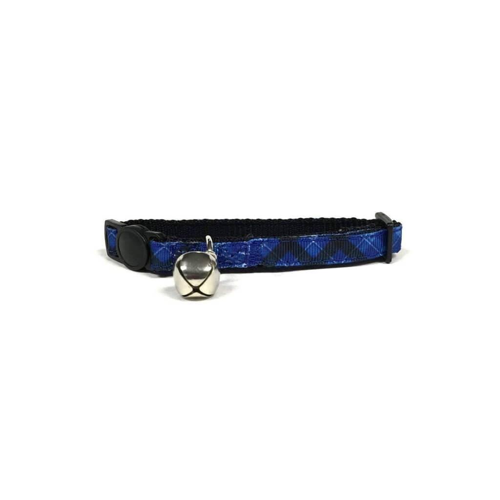 Blue Plaid Cat Collar https://glammepet.com