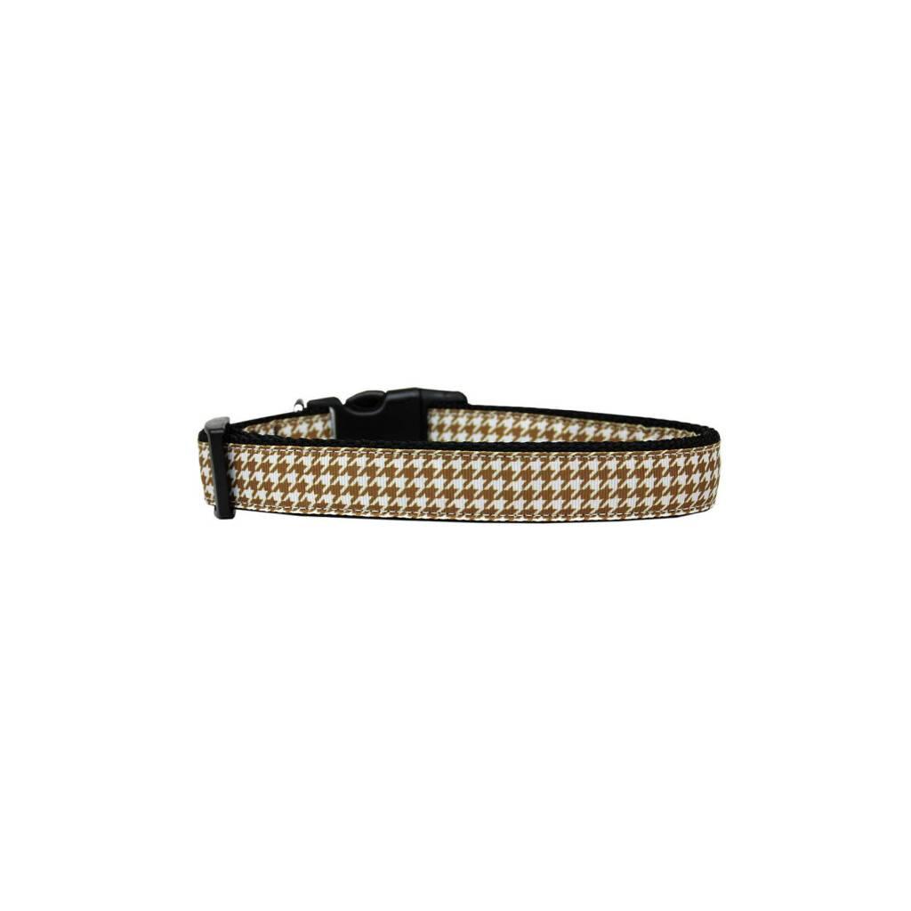 Brown Houndstooth Nylon Ribbon Collar https://glammepet.com