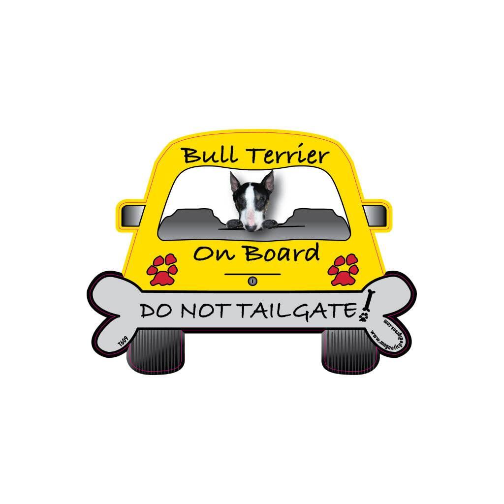 Bull Terrier On Board Car Magnet https://glammepet.com