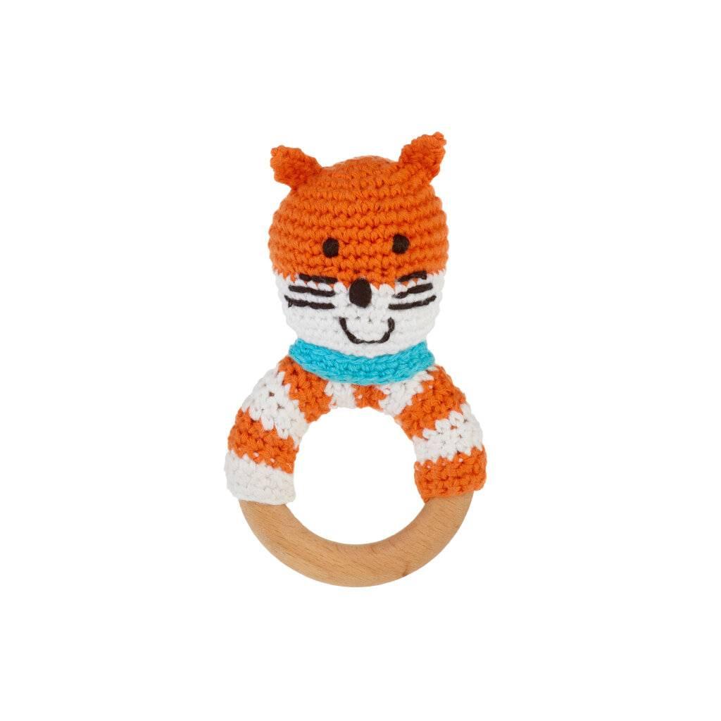 Fox Wooden Teether Ring Rattle https://glammepet.com