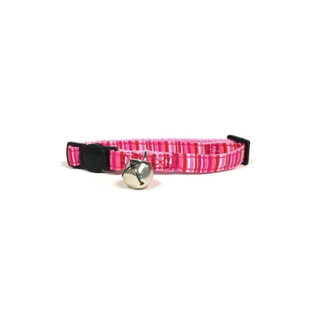 Pink Stripe Cat Collar with Breakaway Buckle https://glammepet.com